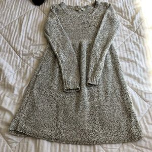 White and gray sweater dress